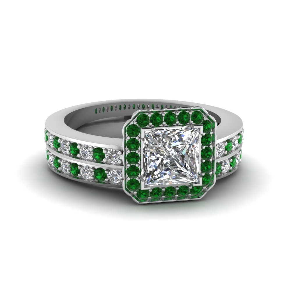 princess cut pave square halo wedding diamond ring set with emerald in FDENS3208PRGEMGR NL WG