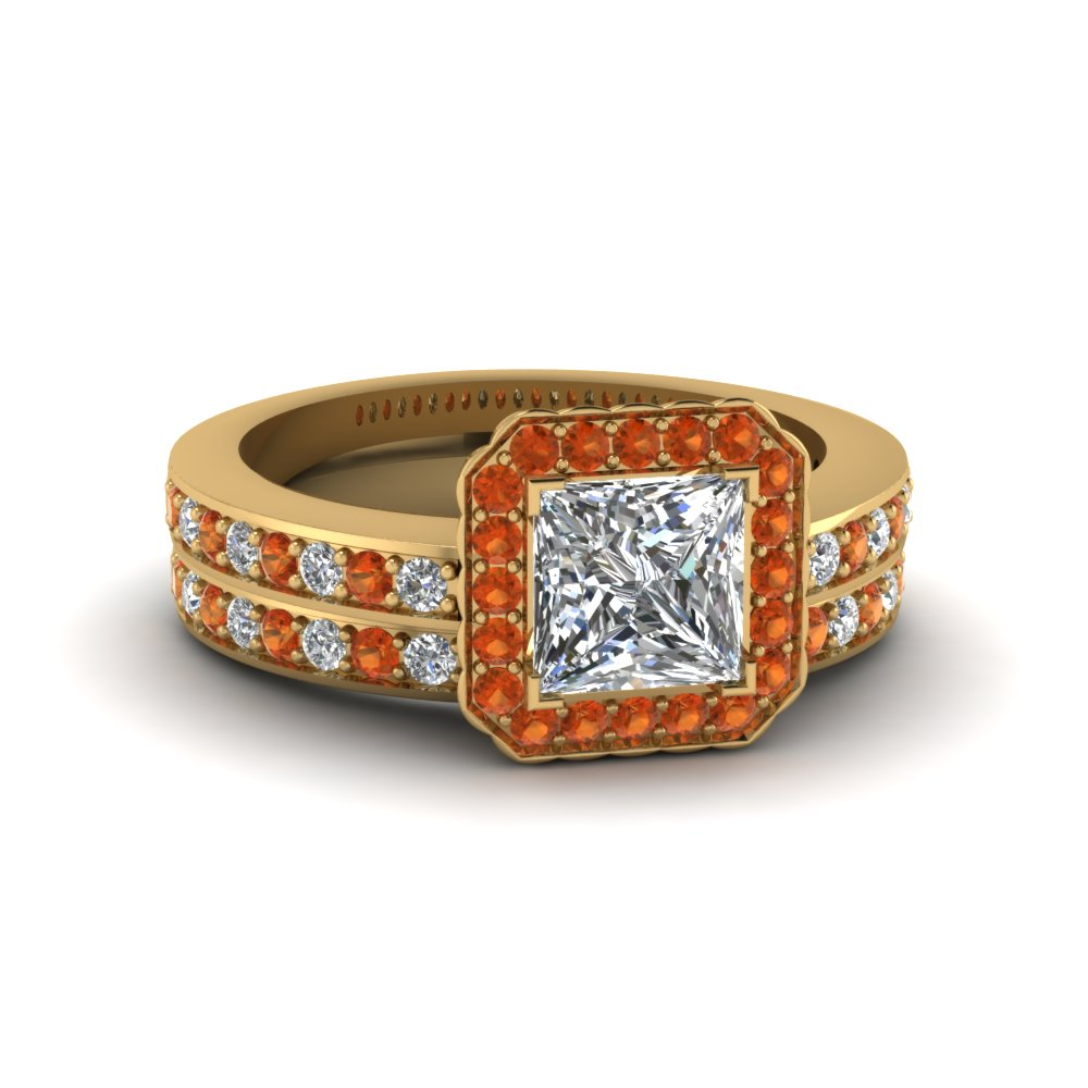 princess cut pave square halo wedding diamond ring set with orange sapphire in FDENS3208PRGSAOR NL YG