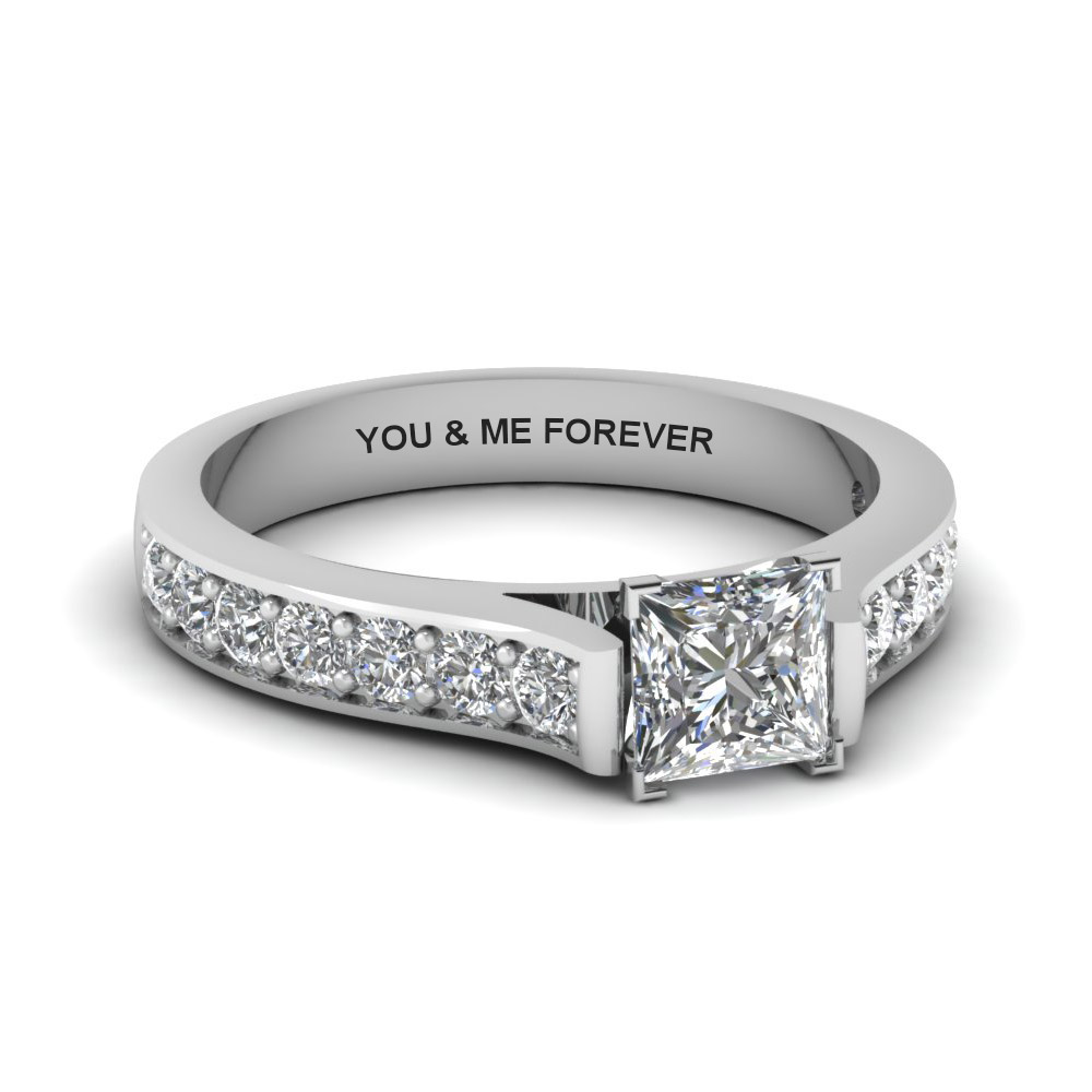 princess cut personalized pave accent diamond engagement ring in FDENS1102PRR NL WG EG