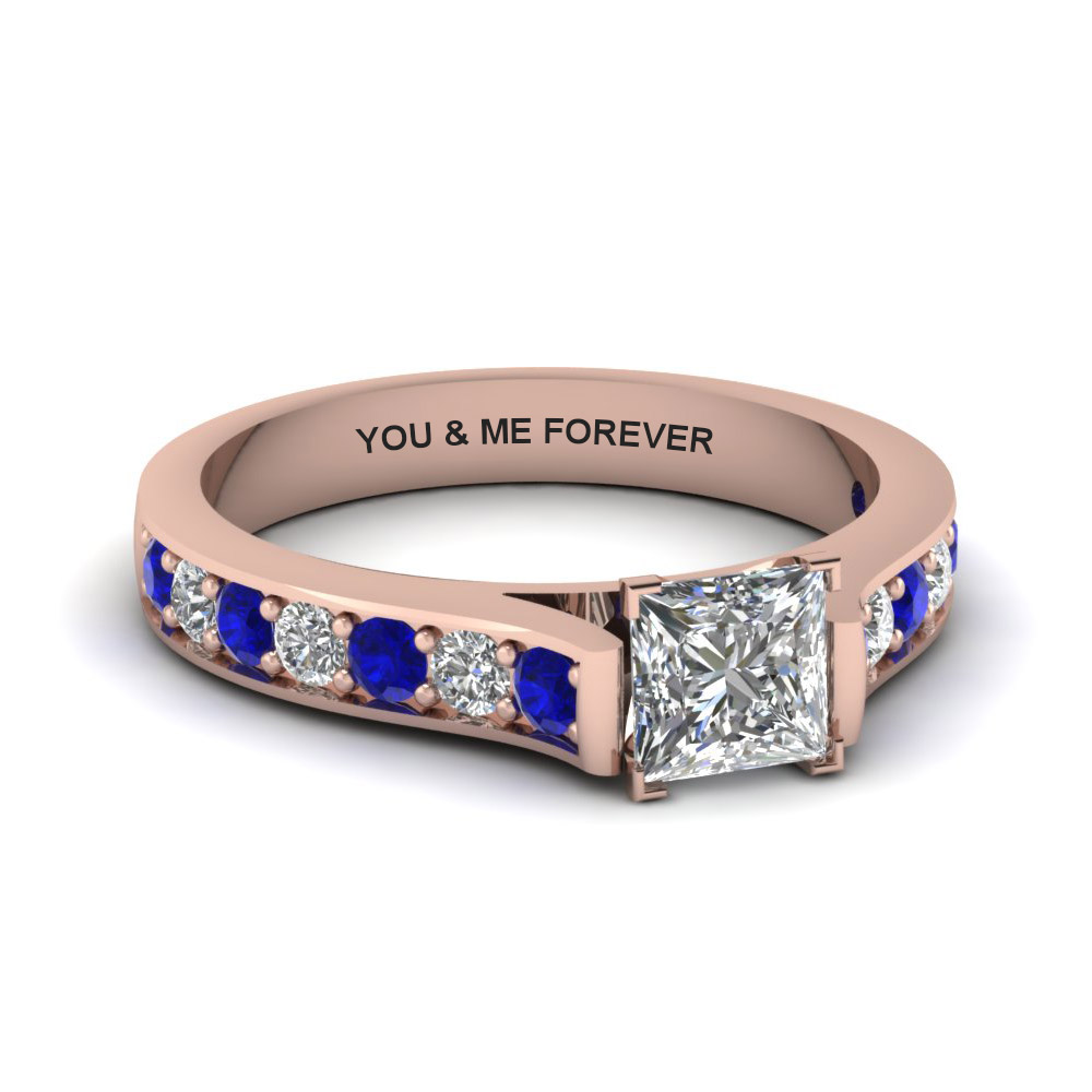princess cut personalized pave accent diamond engagement ring with sapphire in FDENS1102PRRGSABL NL RG EG