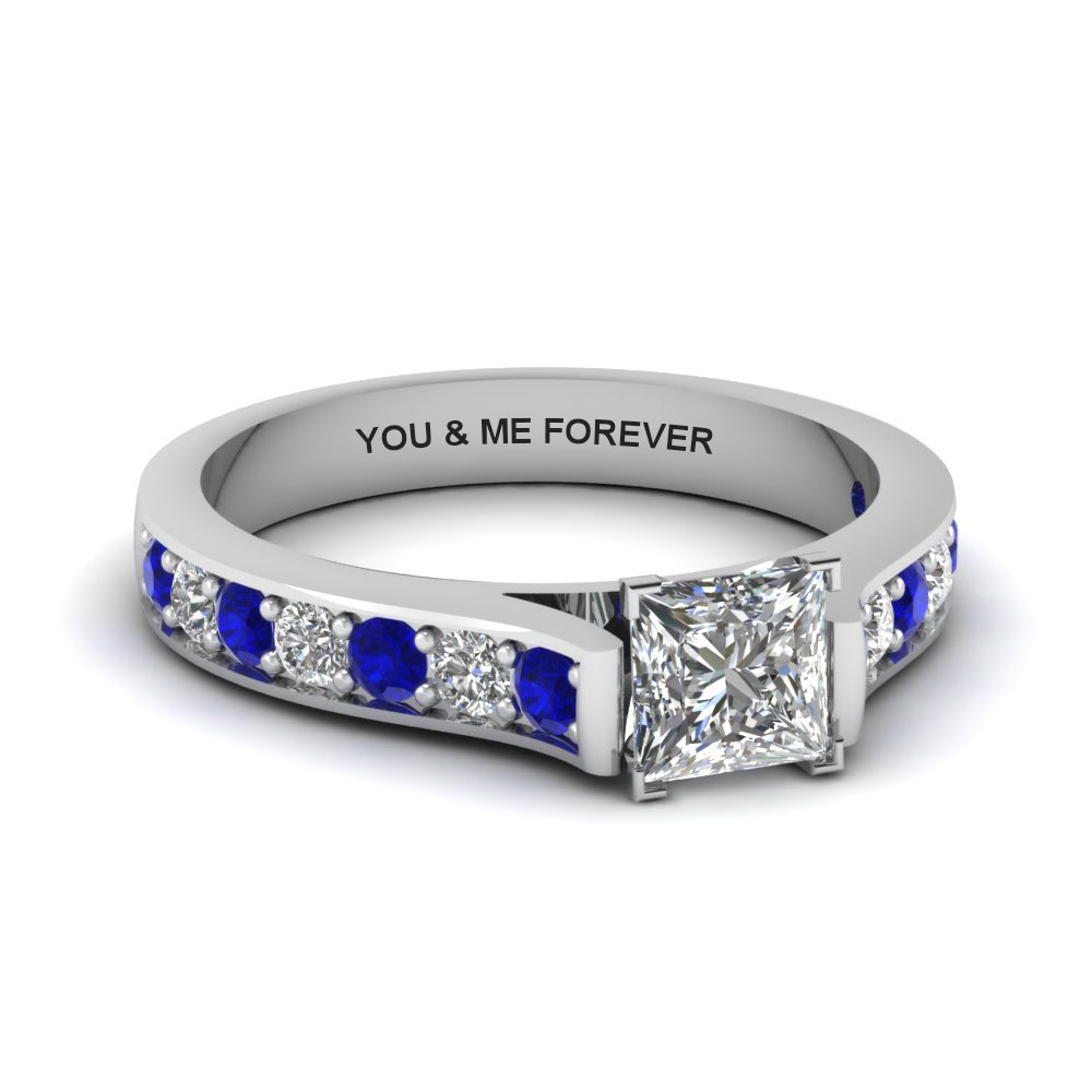 princess cut personalized pave accent diamond engagement ring with sapphire in FDENS1102PRRGSABL NL WG EG