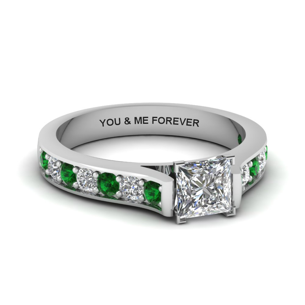 princess cut personalized pave accent diamond engagement ring with emerald in FDENS1102PRRGEMGR NL WG EG