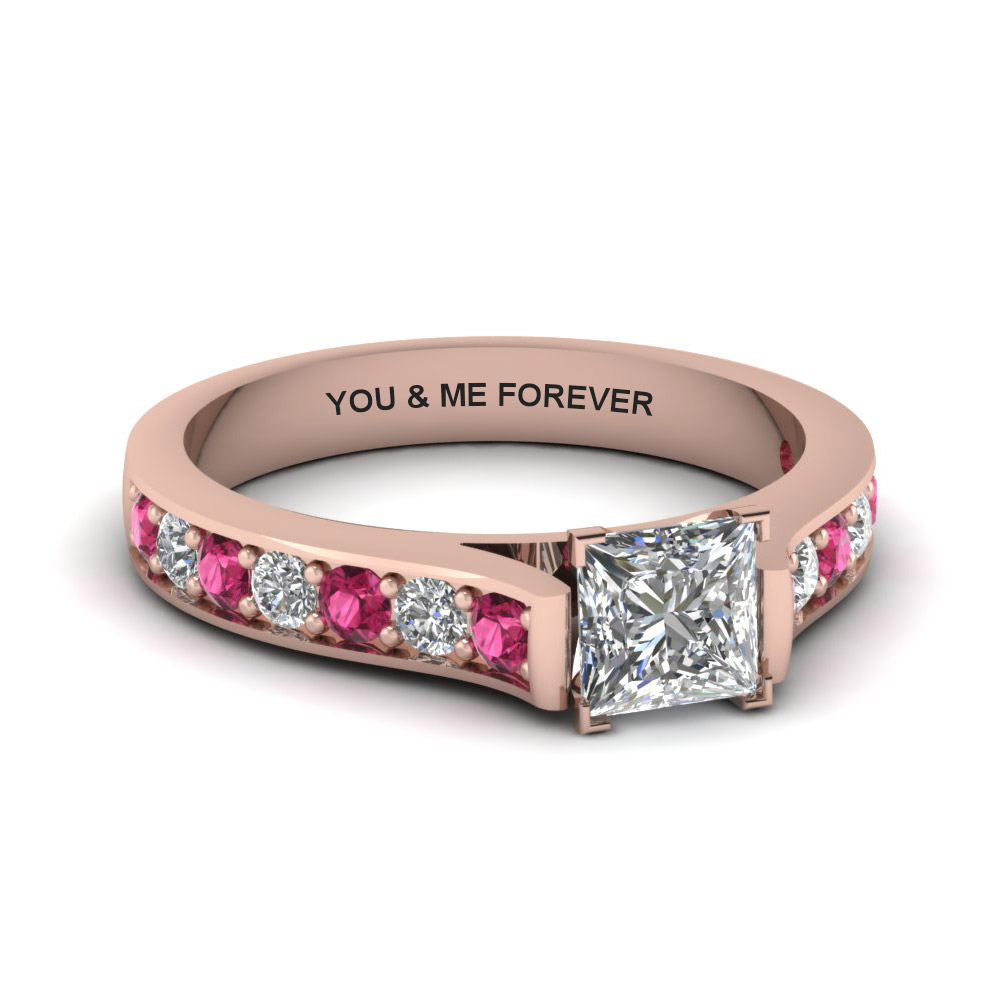 princess cut personalized pave accent diamond engagement ring with pink sapphire in FDENS1102PRRGSADRPI NL RG EG