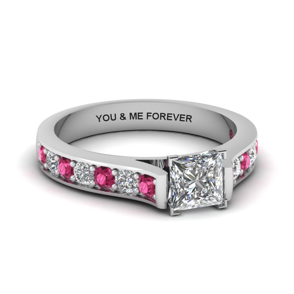 princess cut personalized pave accent diamond engagement ring with pink sapphire in FDENS1102PRRGSADRPI NL WG EG