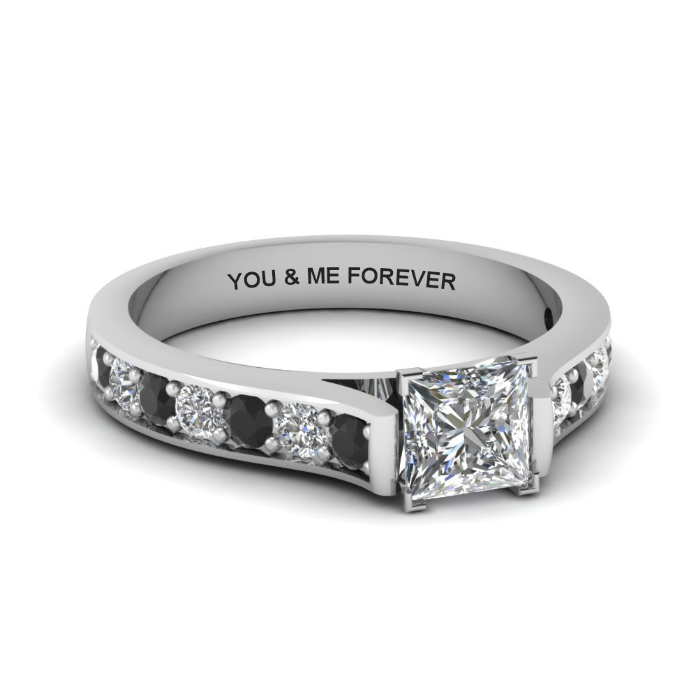 princess cut personalized pave accent engagement ring with black diamond in FDENS1102PRRGBLACK NL WG EG