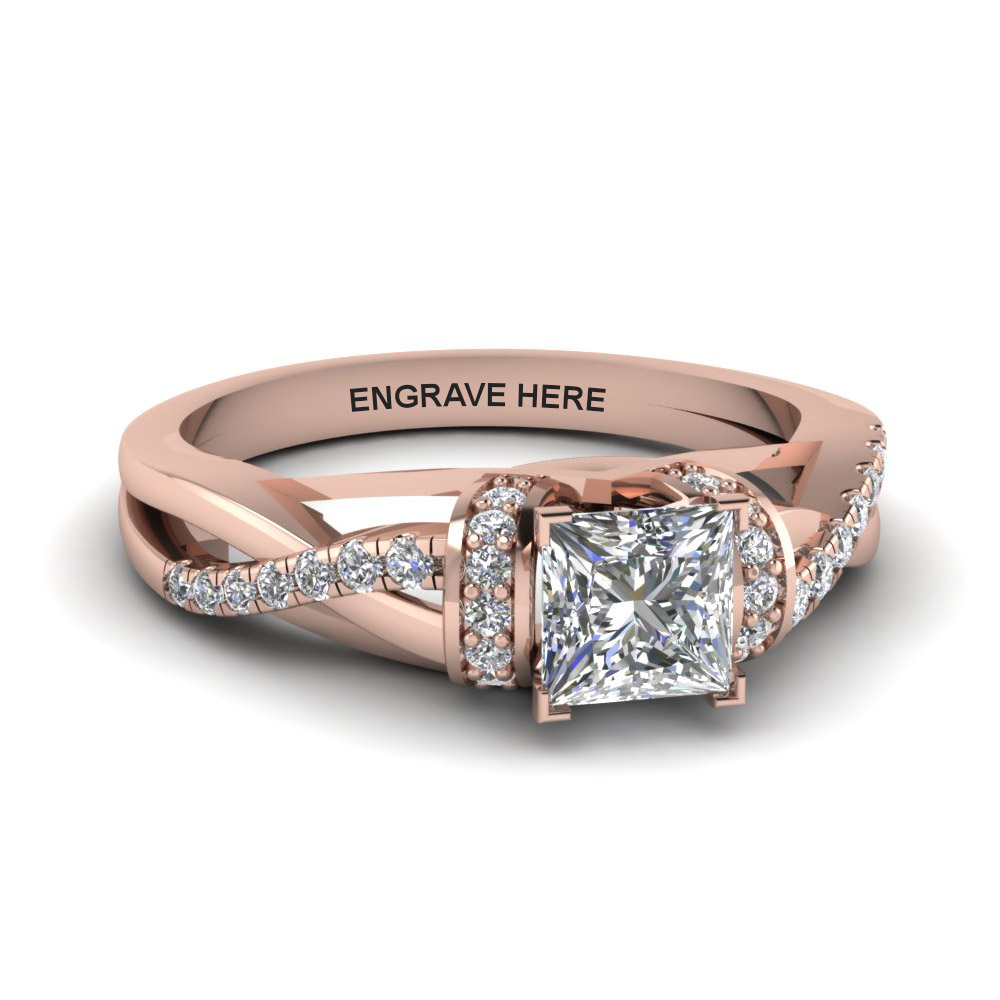 Princess Cut Diamond Side Stone Engagement Rings With White Diamond In 18k Rose  Gold