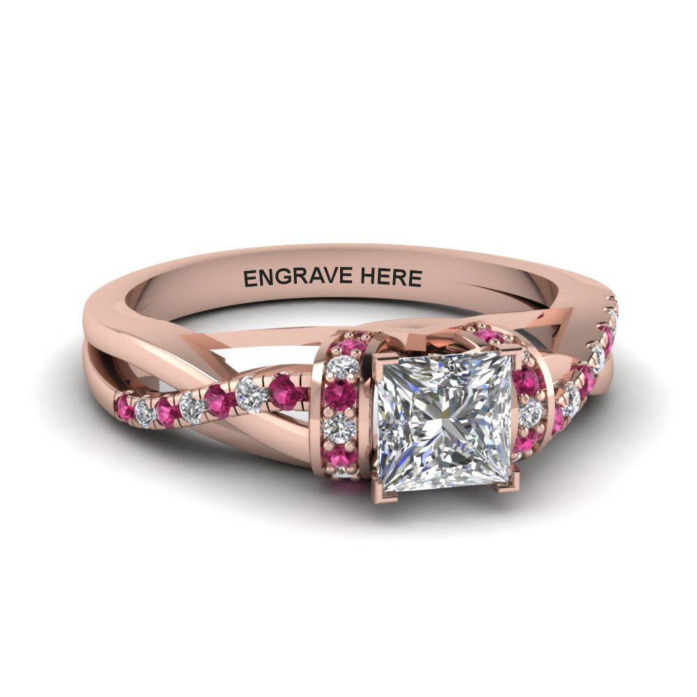 princess cut personalized pave split moissanite engagement ring with pink sapphire in FD8659PRRGSADRPI NL RG EG
