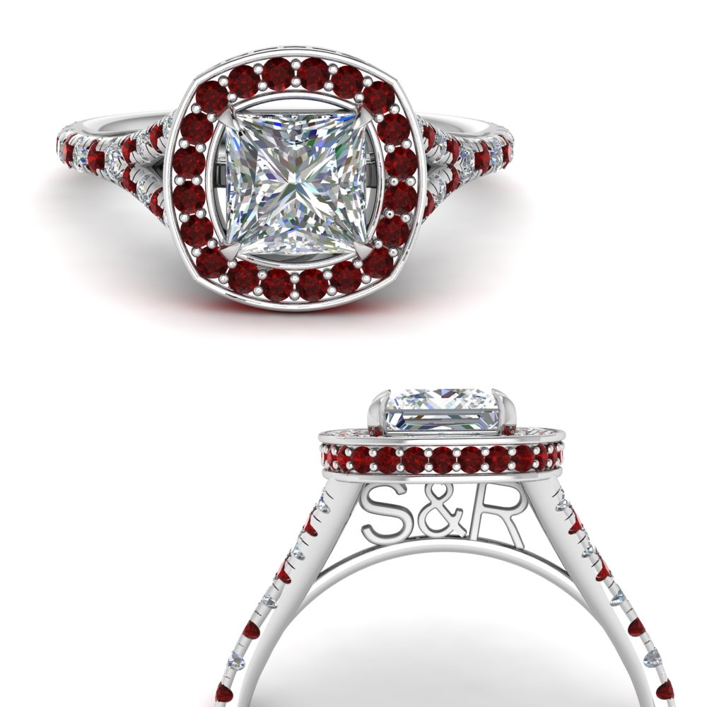 Personalized Under Halo Engagement Ring