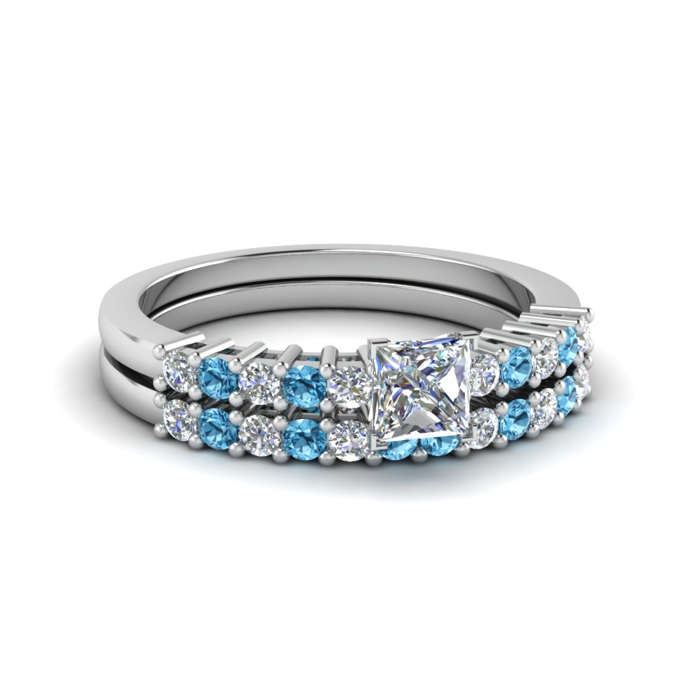 Princess cut prong ice blue topaz wedding sets engagement for Blue topaz wedding ring sets