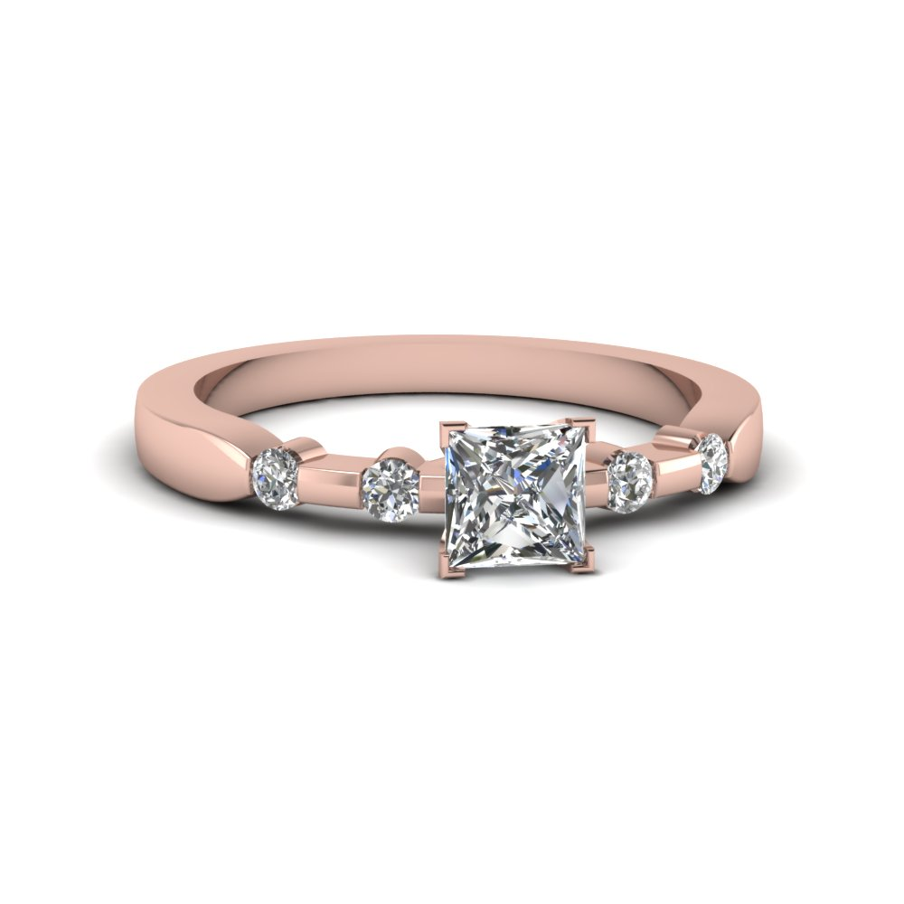 Princess Cut Diamond Bezel Set Wedding Rings