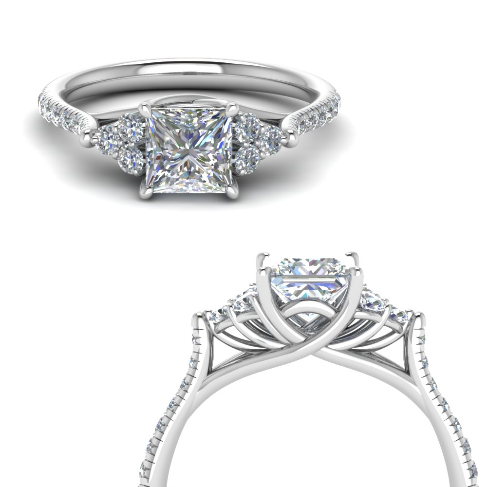 princess cut petite cathedral diamond engagement ring in FD123457PRRANGLE3 NL WG