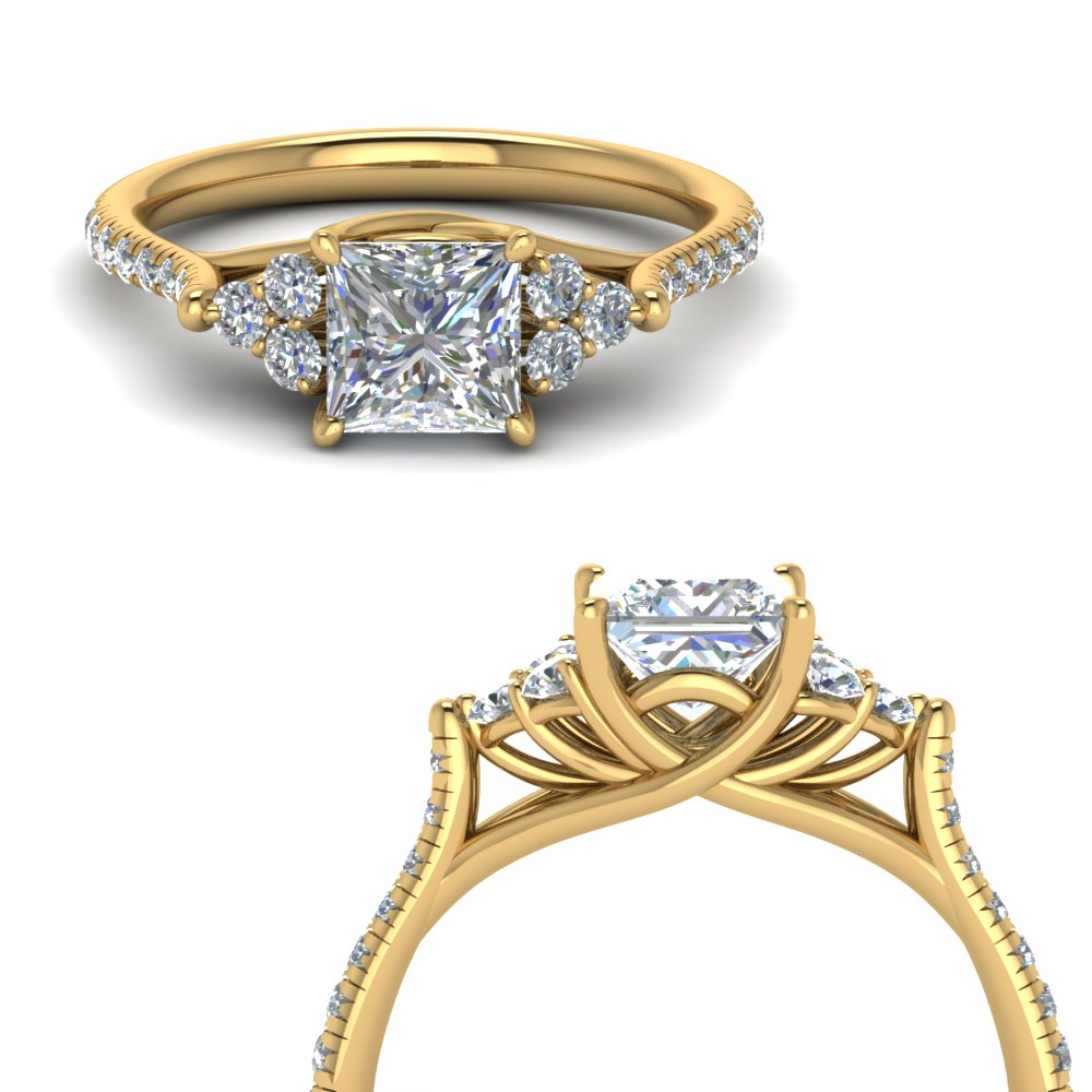 Princess Cut Petite Cathedral Diamond Ring