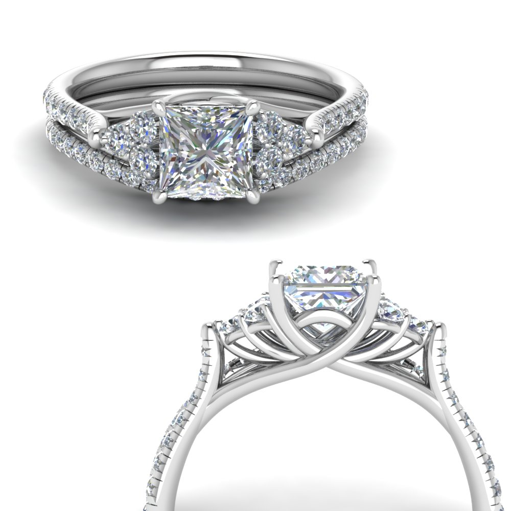 Princess Cut Petite Cathedral Ring Set