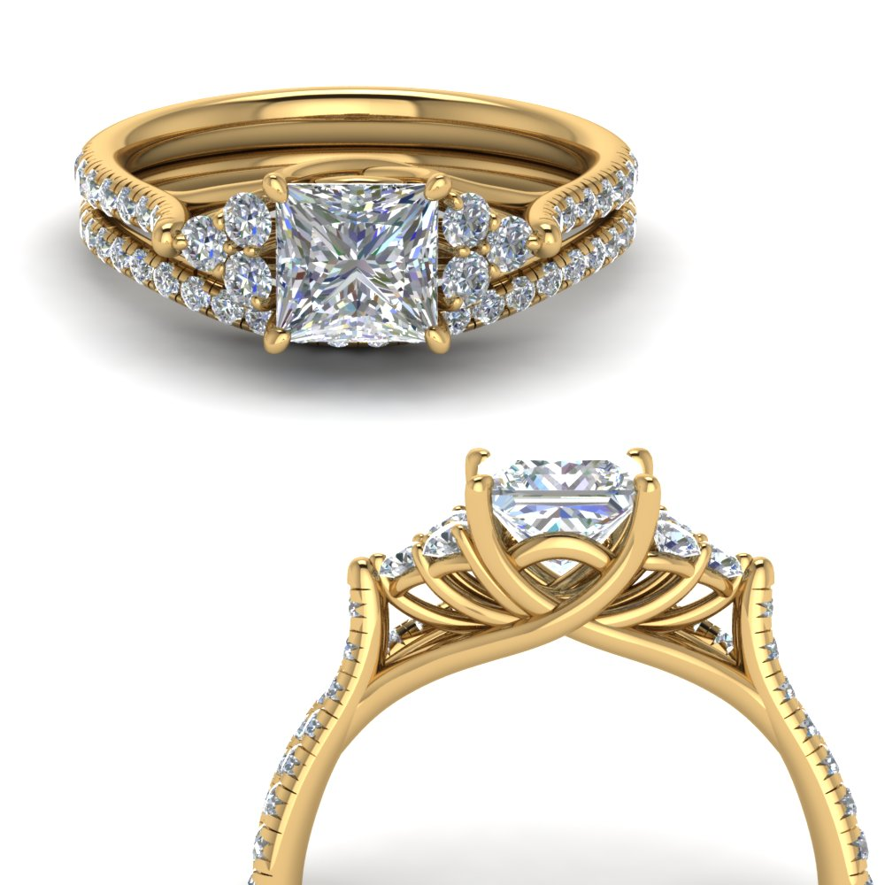 princess cut petite cathedral diamond wedding ring set in FD123457PRANGLE3 NL YG