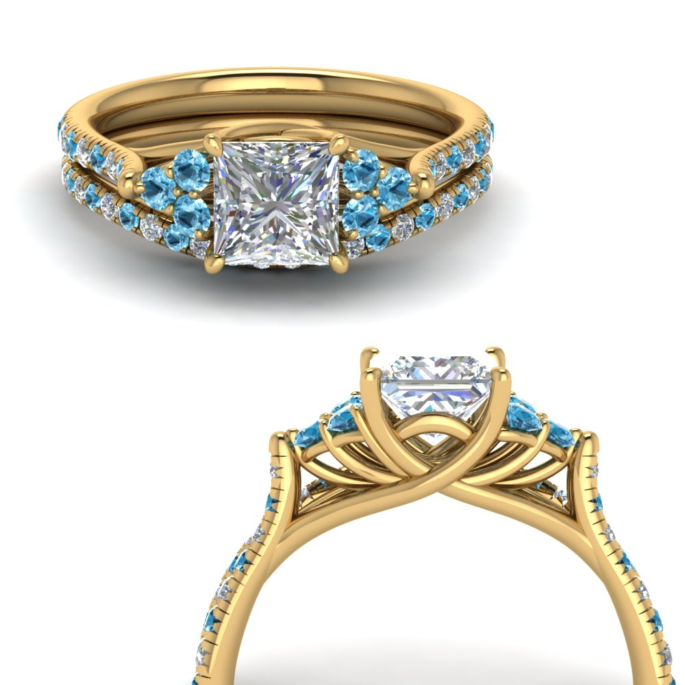 princess cut petite cathedral diamond wedding ring set with blue topaz in FD123457PRGICBLTOANGLE3 NL YG