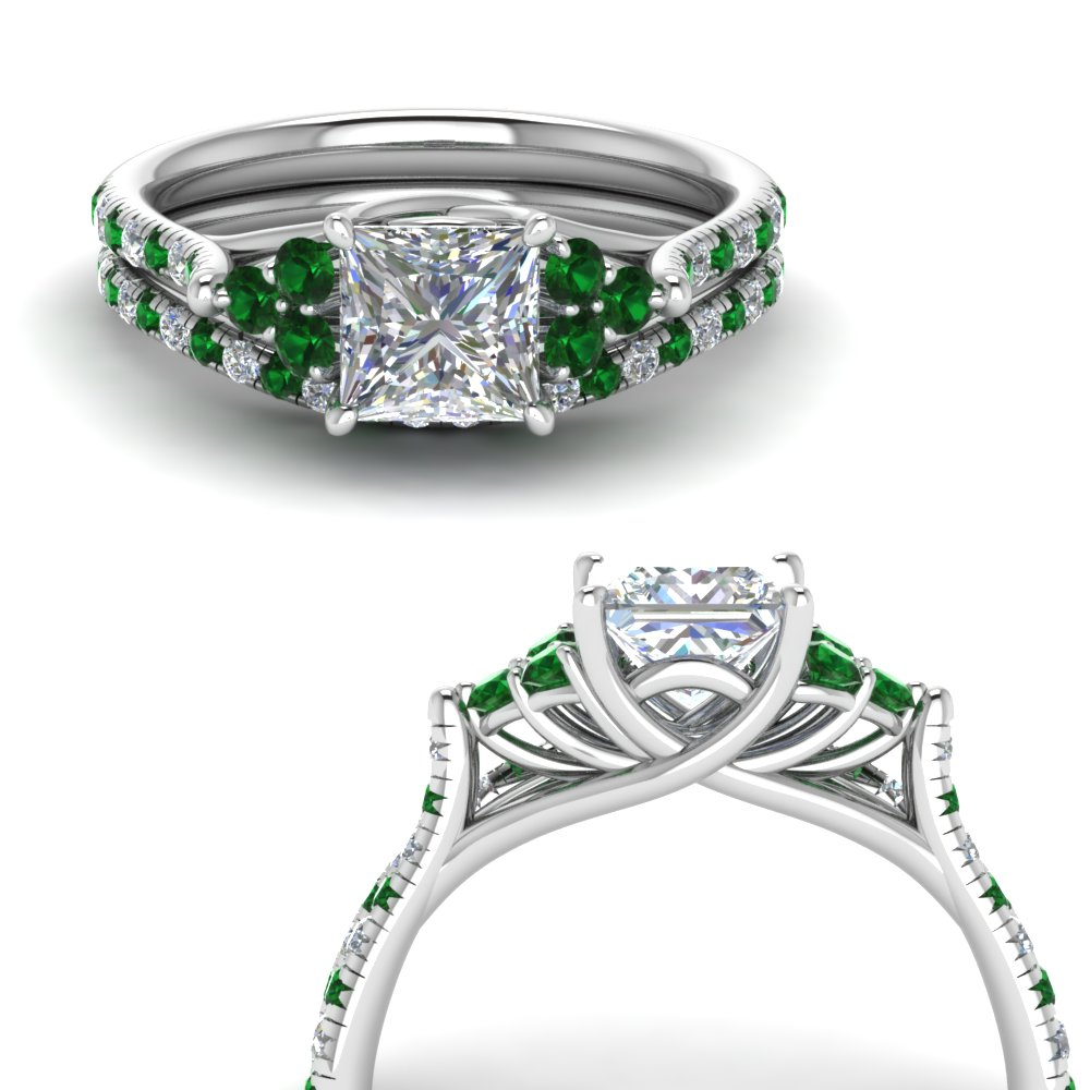princess cut petite cathedral diamond wedding ring set with emerald in FD123457PRGEMGRANGLE3 NL WG