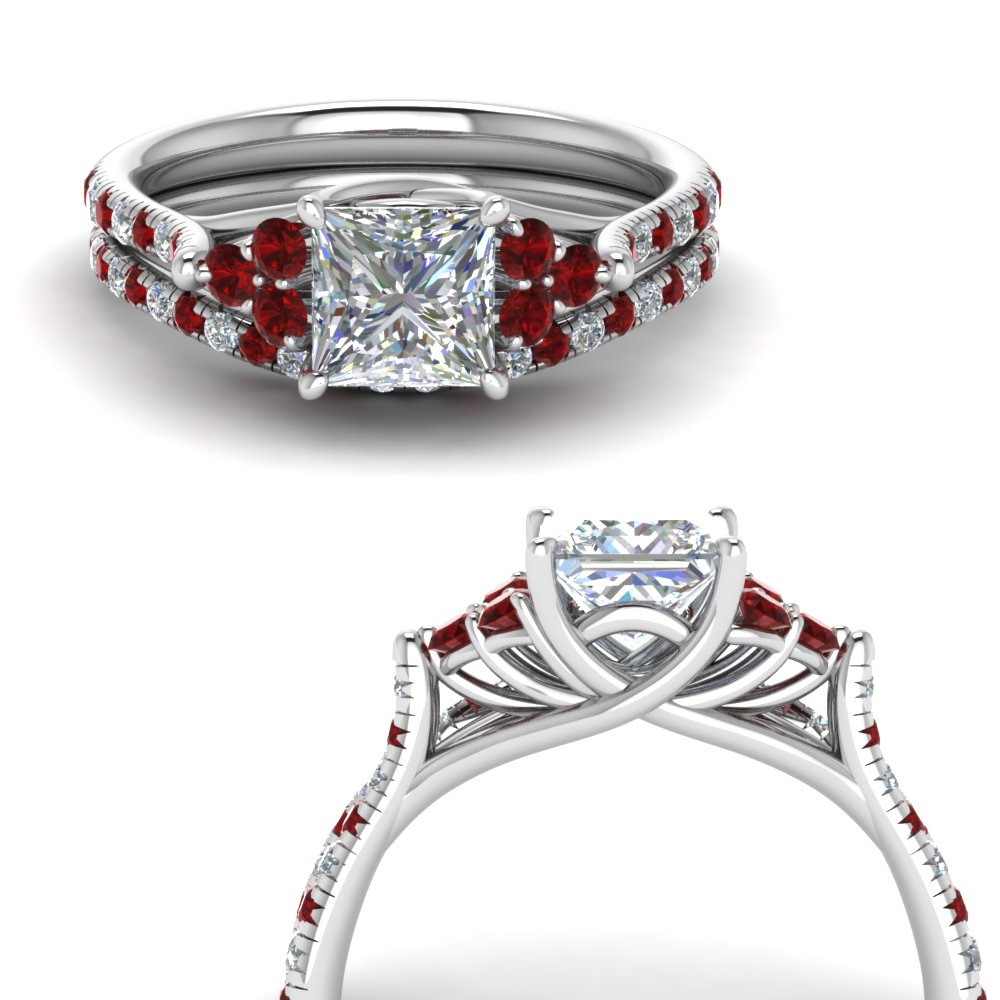 princess cut petite cathedral diamond wedding ring set with ruby in FD123457PRGRUDRANGLE3 NL WG