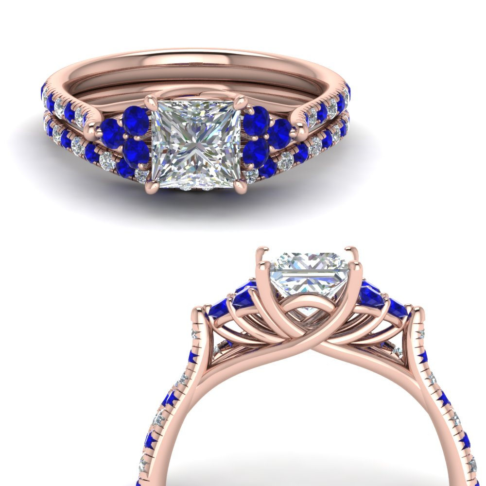 princess cut petite cathedral diamond wedding ring set with sapphire in FD123457PRGSABLANGLE3 NL RG