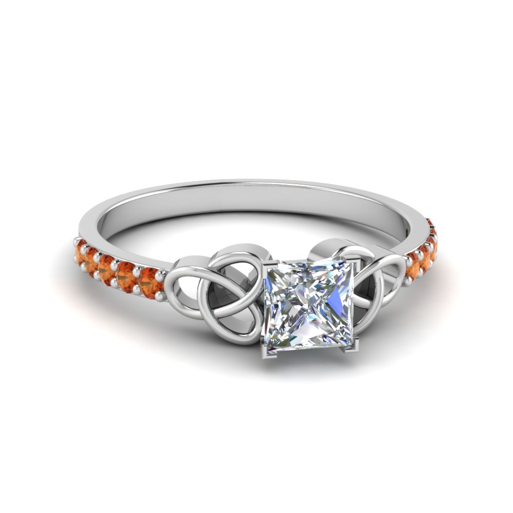 petite celtic princess cut engagement ring with orange sapphire in FD8061PRRGSAOR NL WG