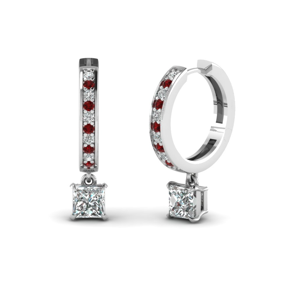 Princess Cut Drop Hoop Diamond Earring With Ruby In Fdear1161prgrudr Nl Wg