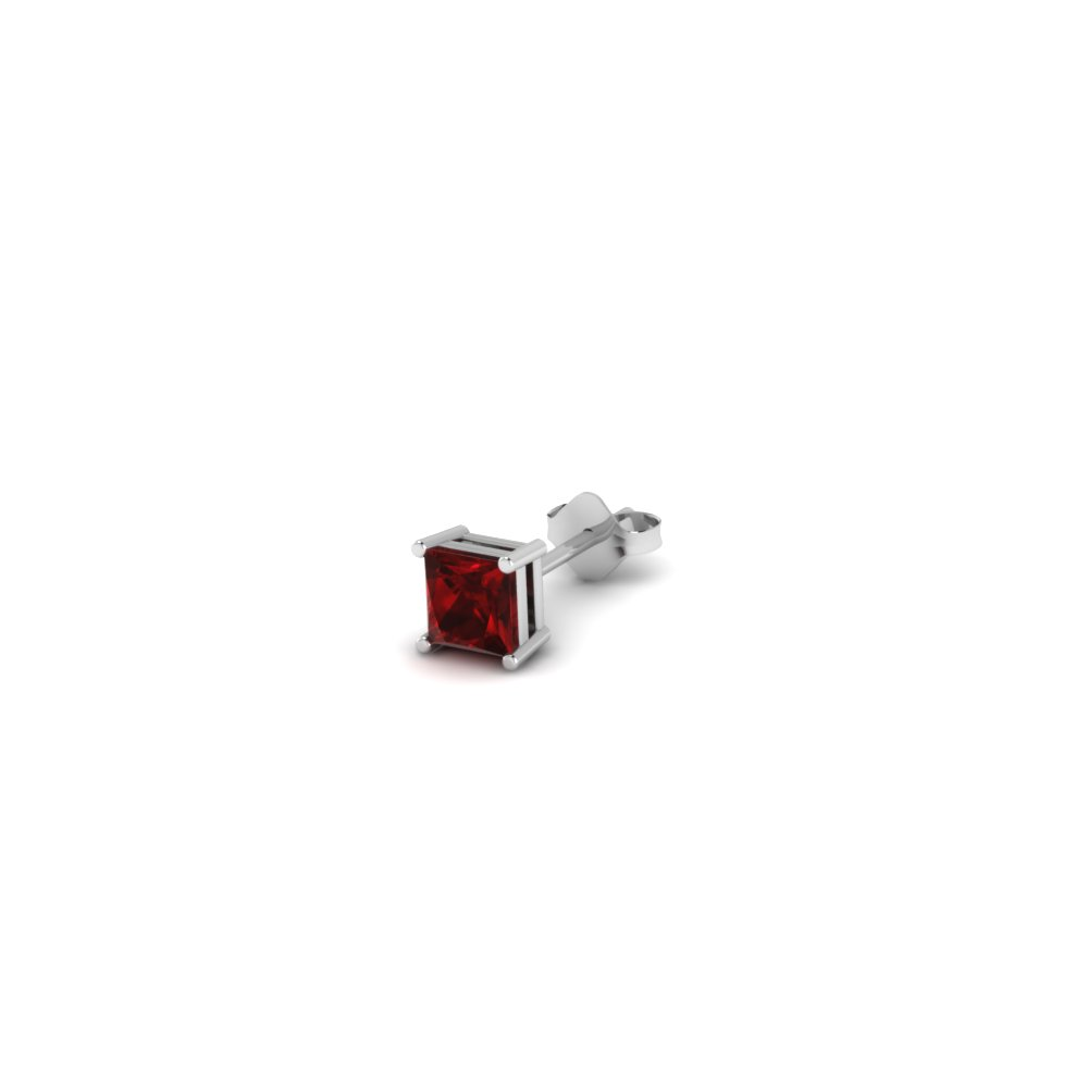 princess cut red ruby mens earrings in 14K white gold FDMS4PRGRUDR10CT NL WG