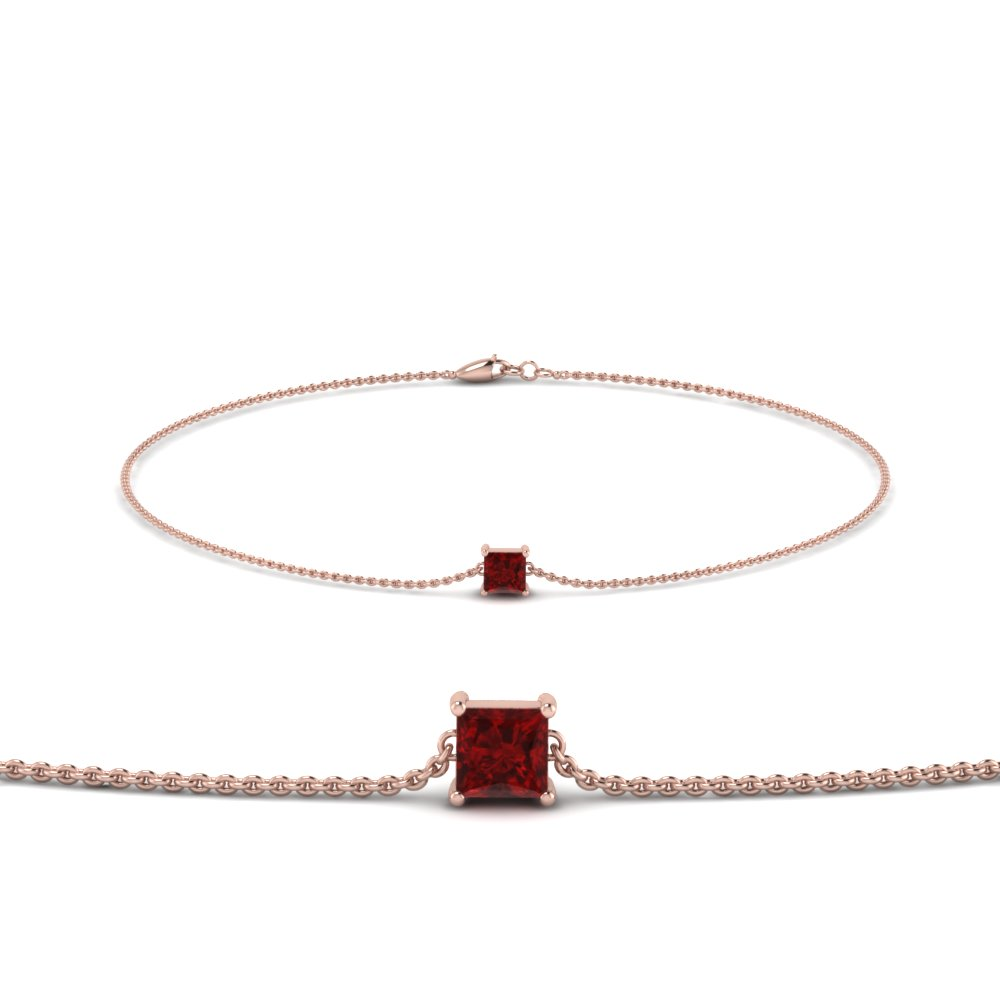 princess cut ruby chain bracelet in FDBRC8656PRGRUDR NL RG