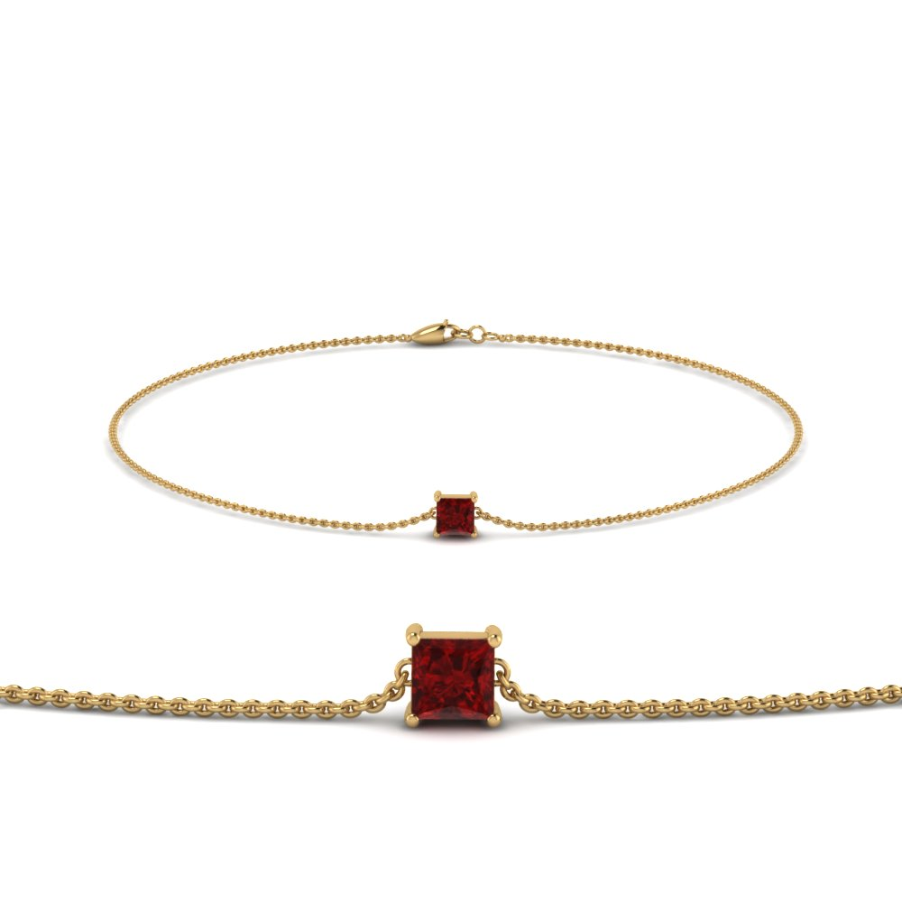 princess cut ruby chain bracelet in FDBRC8656PRGRUDR NL YG