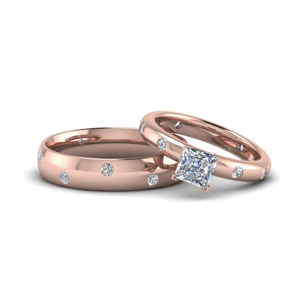 princess cut shaped couple wedding rings his and hers matching anniversary sets gifts in 14K rose gold FD8156B NL RG