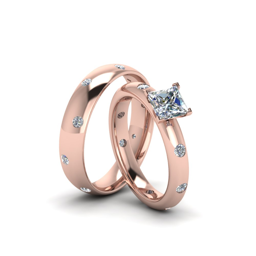 Princess Cut Shaped Couple Wedding Rings His And Hers Matching
