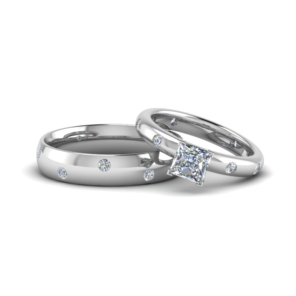 Princess Cut Matching Couple Wedding Rings In 14k White Gold
