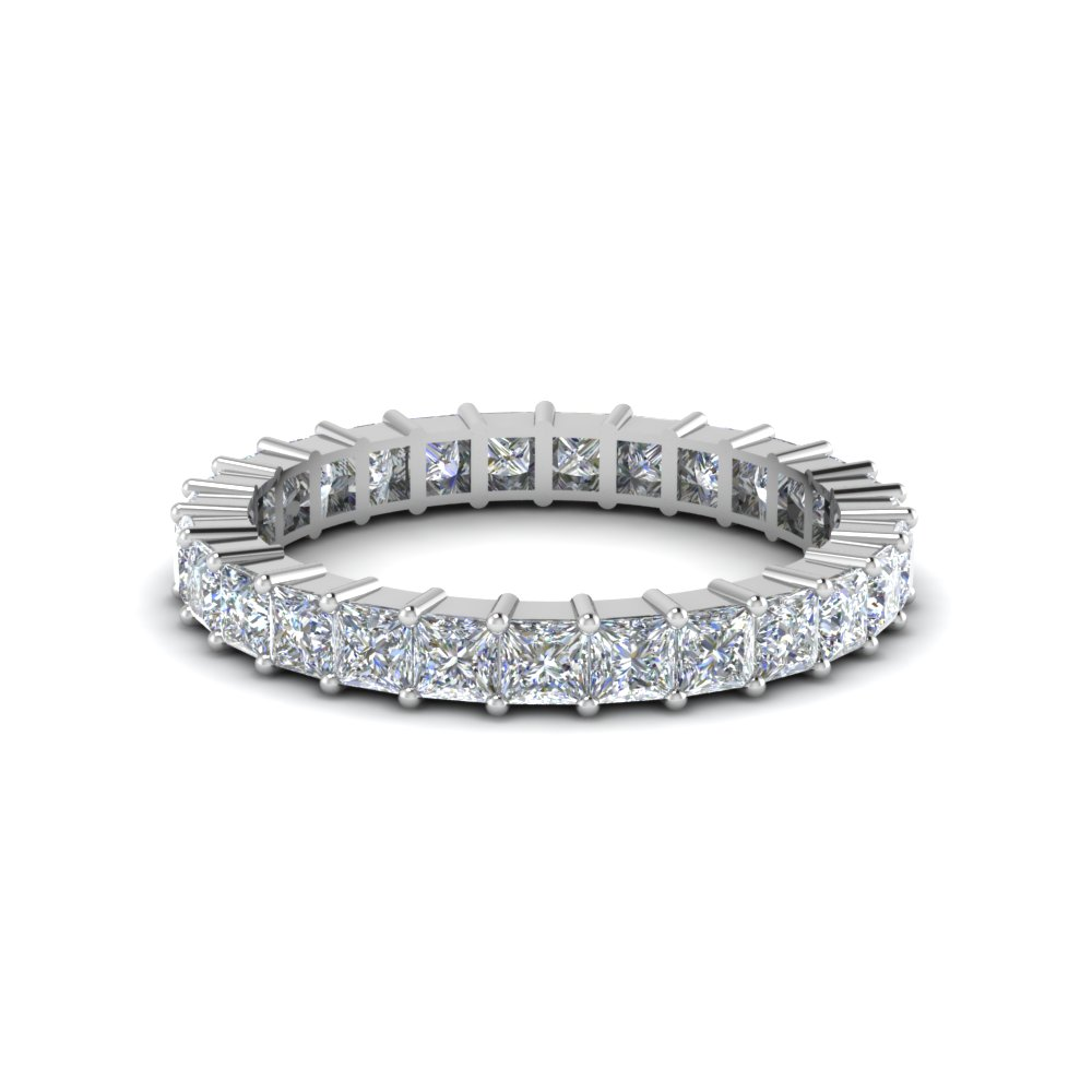 Princess Cut Shared Prong Diamond Eternity Band For Women In 14K White Gold