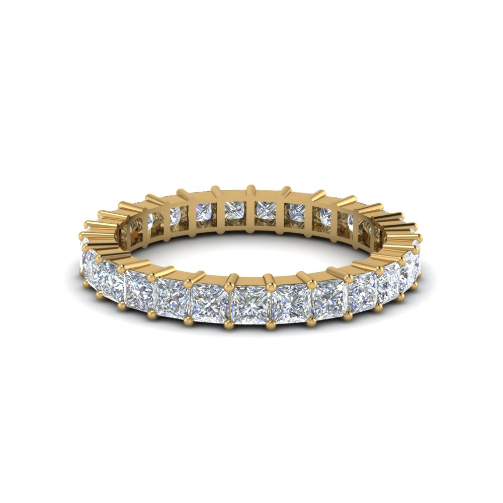 Gold Eternity Band With Princess Diamonds