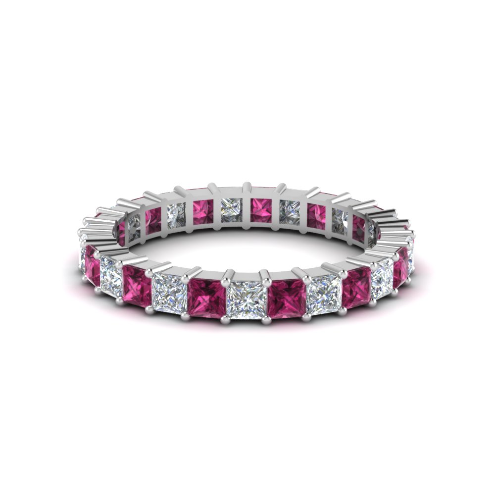 princess cut shared prong diamond eternity band for women with pink sapphire in 950 Platinum FDEWB180BGSADRPI NL WG