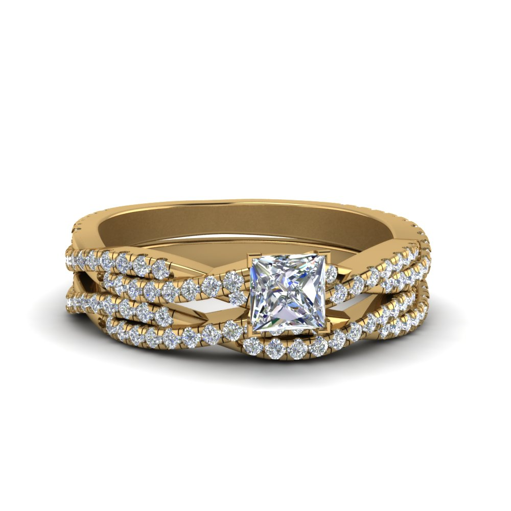princess cut simple diamond twisted vine bridal ring set in 14K yellow gold FD8233PR NL YG