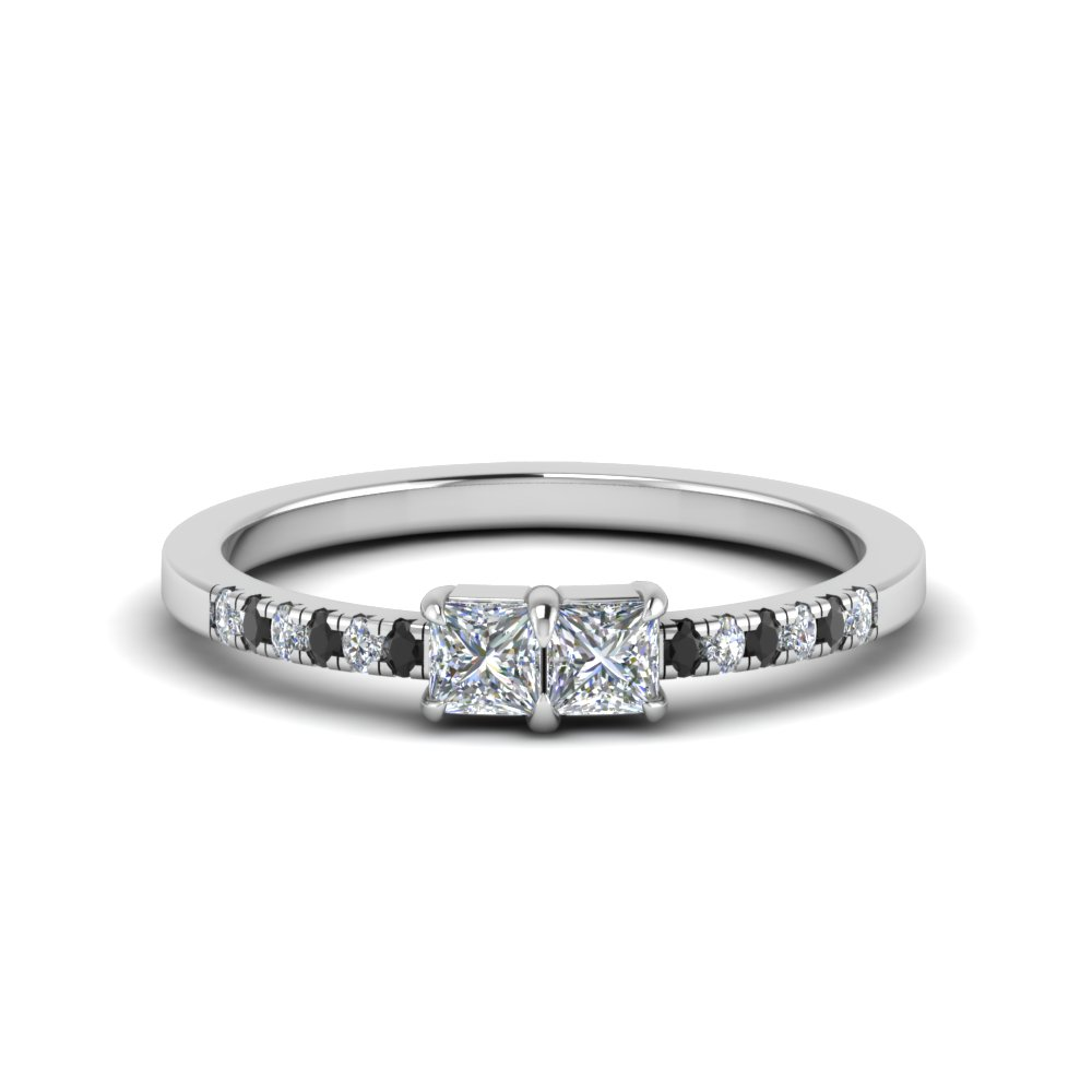 Simple Two Princess Cut Engagement Ring With Black Diamond In 14K