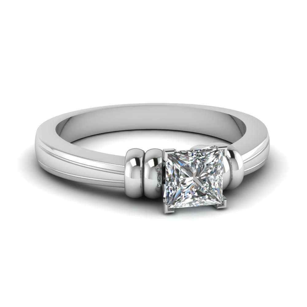 princess cut solitaire diamond engagement ring in 14K white gold FDENR2526PRR NL WG