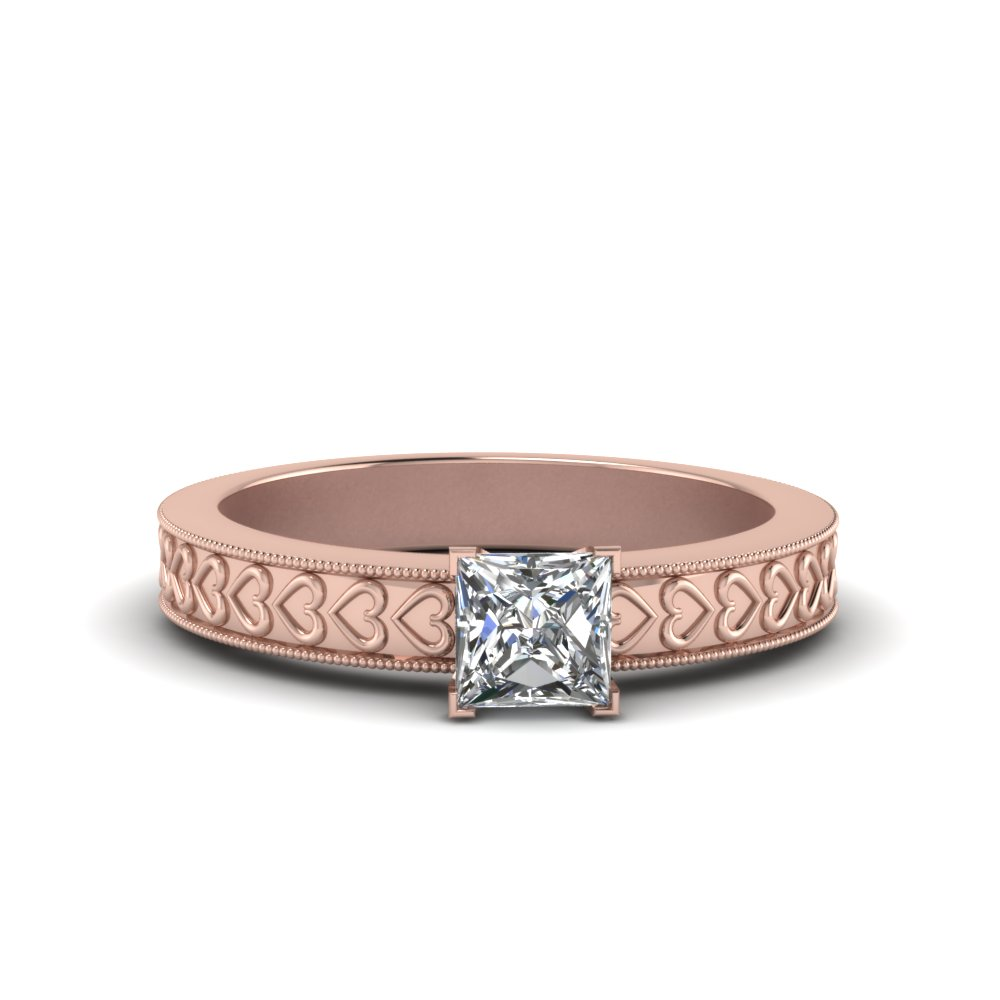 Engraved Solitaire Princess Cut Ring