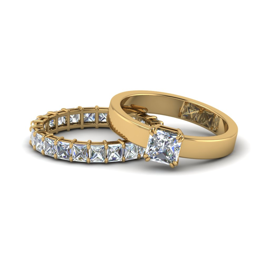 Princess Cut Solitaire With Eternity Band Set