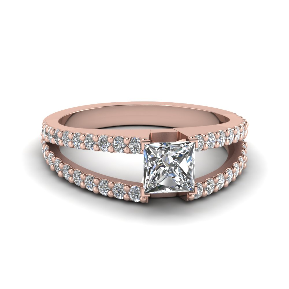 Split Shank Princess Engagement Rings