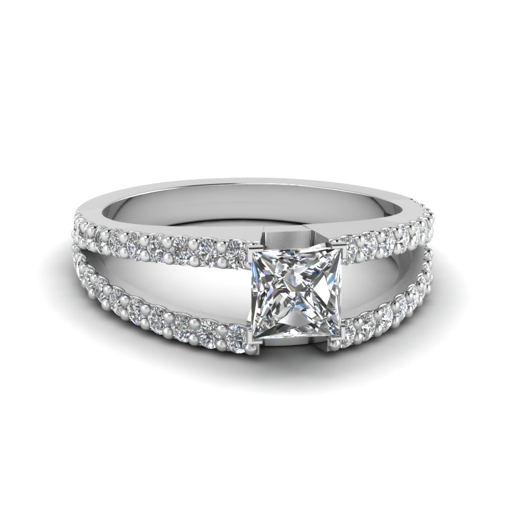 Modern Platinum Princess Cut Diamond Ring
