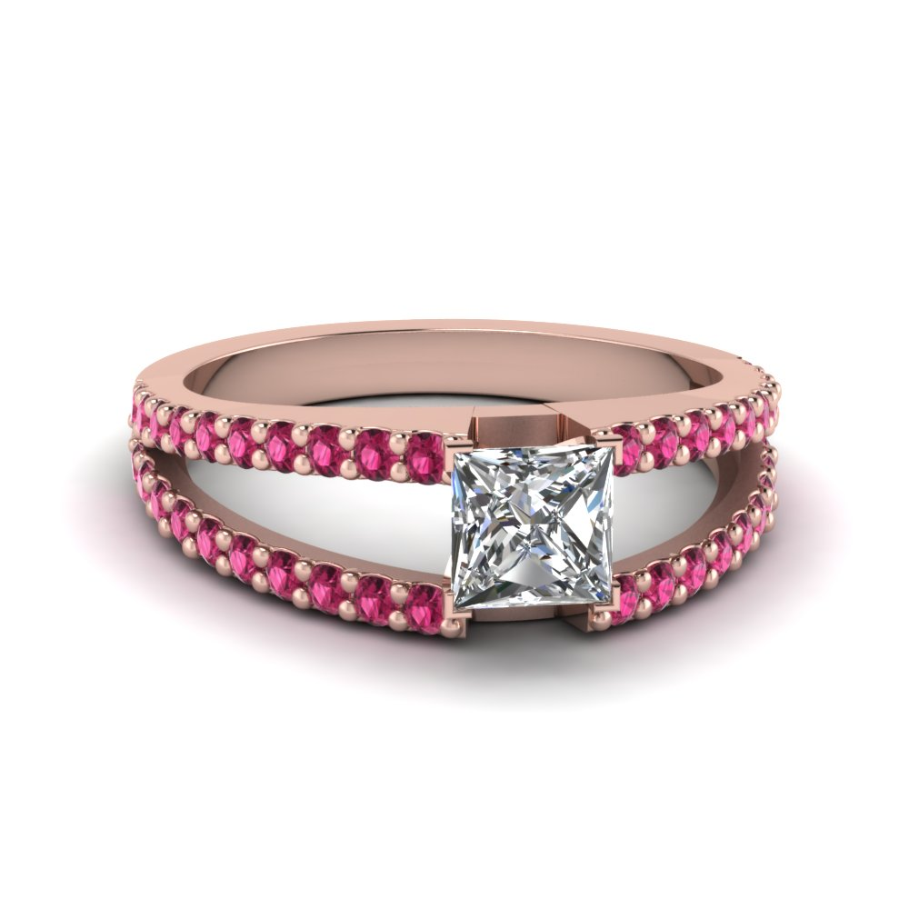 princess cut split band gemstone with diamond engagement ring with pink sapphire in FDENR8335PRRGSADRPI NL RG GS