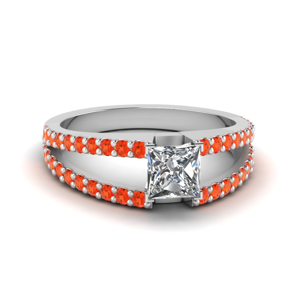 princess cut split band gemstone with diamond engagement ring with poppy topaz in FDENR8335PRRGPOTO NL WG GS