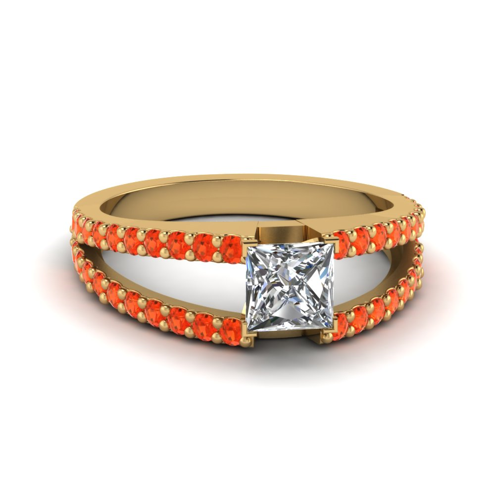 princess cut split band gemstone with diamond engagement ring with poppy topaz in FDENR8335PRRGPOTO NL YG GS
