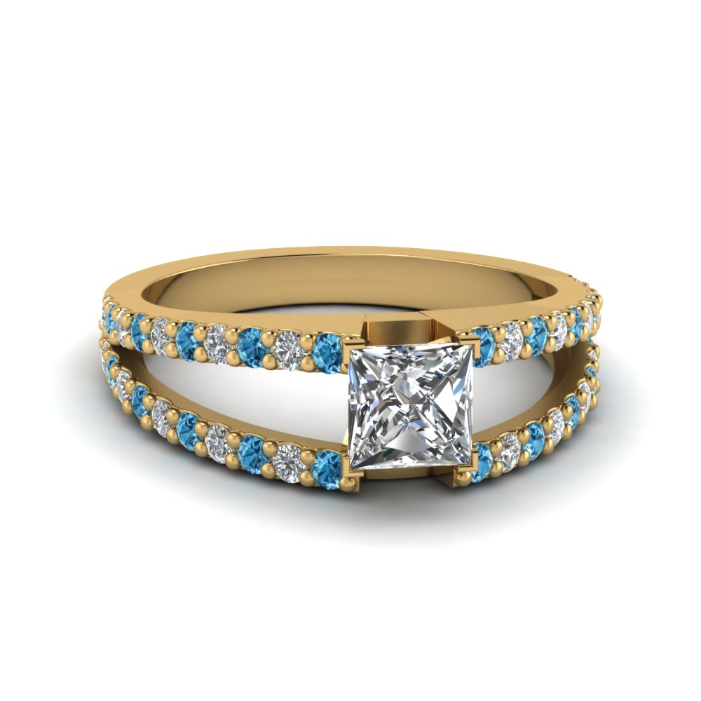 princess cut split double band diamond engagement ring with ice blue topaz in FDENR8335PRRGICBLTO NL YG