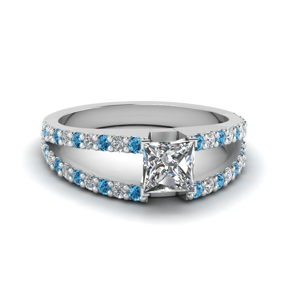 princess cut split double band diamond engagement ring with ice blue topaz in FDENR8335PRRGICBLTO NL WG