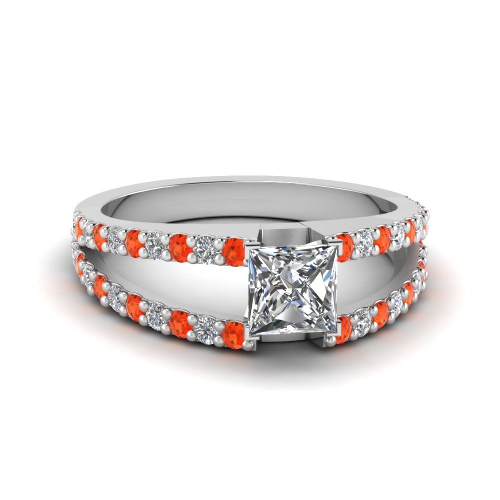 princess cut split double band diamond engagement ring with poppy topaz in FDENR8335PRRGPOTO NL WG