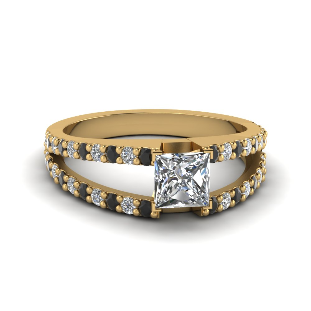 princess cut split double band engagement ring with black diamond in FDENR8335PRRGBLACK NL YG