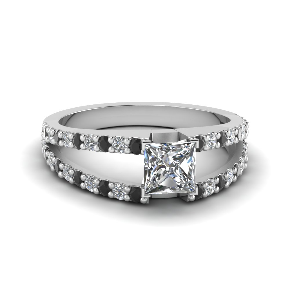 Princess Cut Split Double Band Engagement Ring With Black Diamond In  FDENR8335PRRGBLACK NL WG