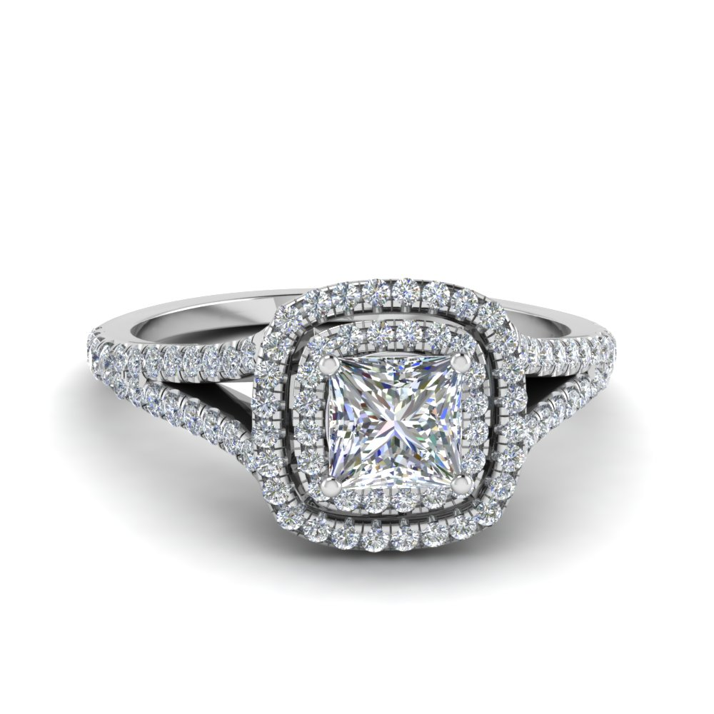 princess cut split double halo diamond engagement ring in