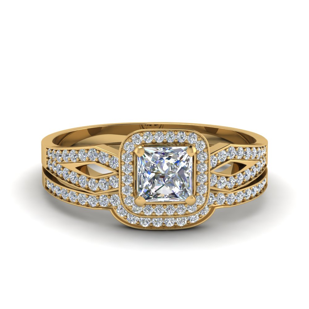 Princess Cut Split Ring Set